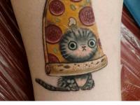 meme tatuajes gato pizza